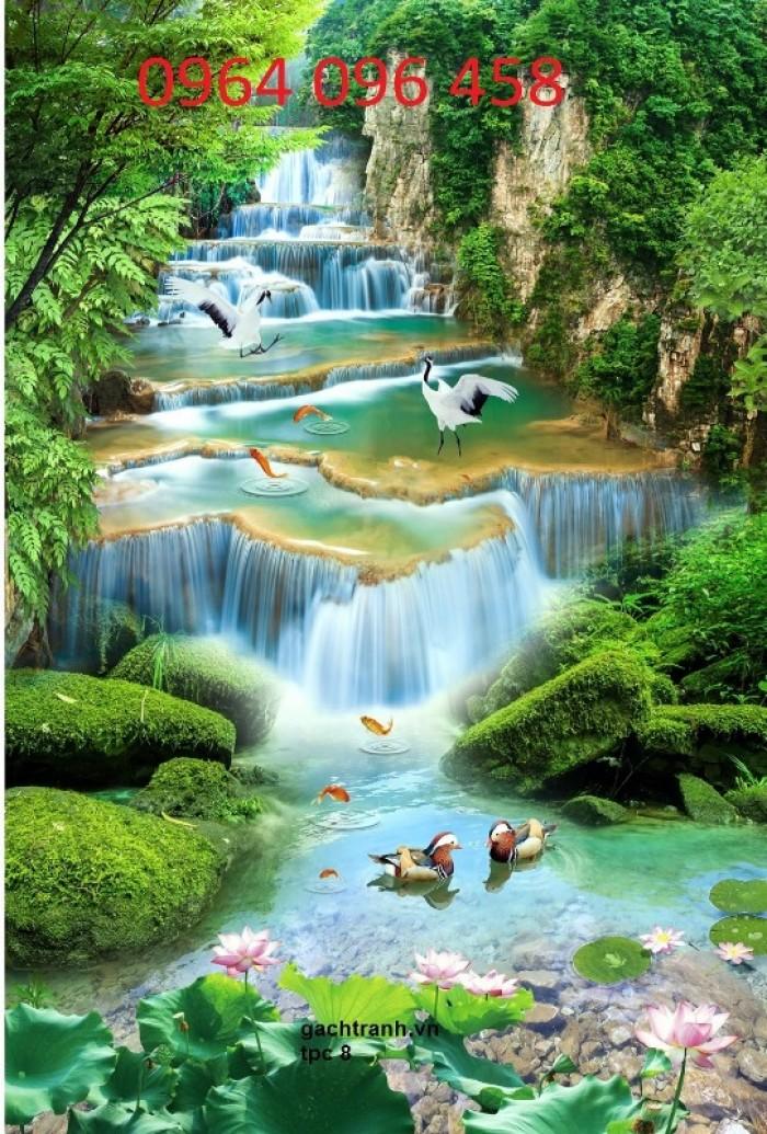 Gạch tranh 3d phong cảnh thác nước đẹp