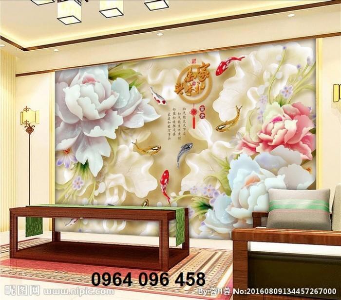 Mẫu tranh gạch 3d ốp tường phòng khách