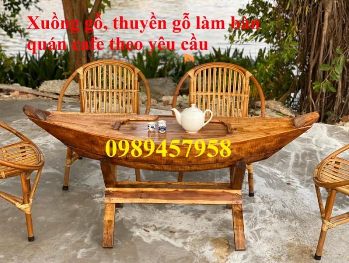 Bán thuyền gỗ trang trí quán cafe, thuyền gỗ bày hải sản0