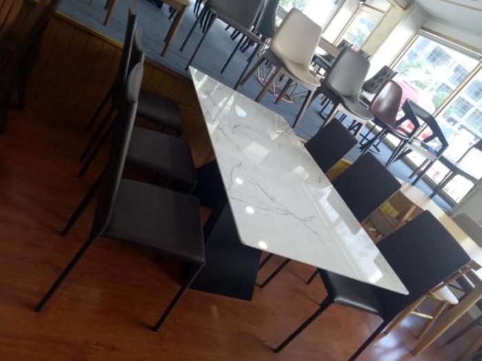 Bộ bàn ăn chân sắt sơn tĩnh điện mặt đá0
