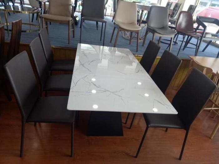 Bộ bàn ăn chân sắt sơn tĩnh điện mặt đá1