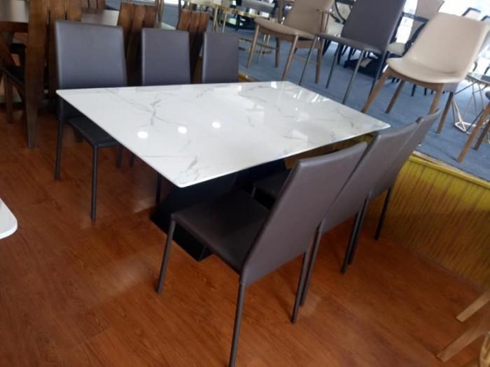 Bộ bàn ăn chân sắt sơn tĩnh điện mặt đá2
