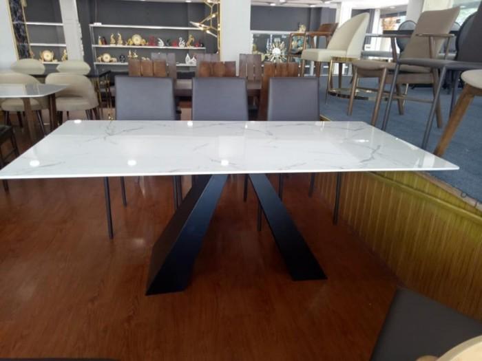 Bộ bàn ăn chân sắt sơn tĩnh điện mặt đá3