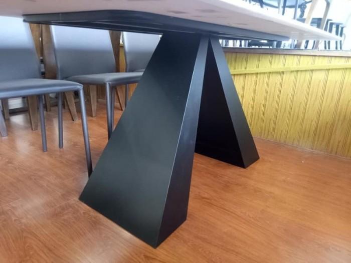 Bộ bàn ăn chân sắt sơn tĩnh điện mặt đá5