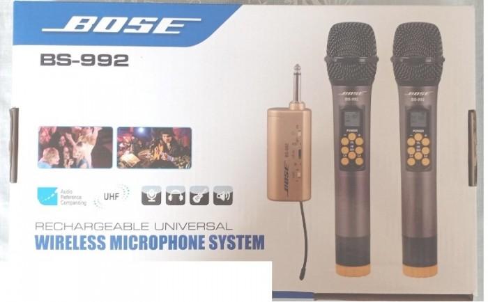 Micro Không Dây Bose BS-992 Với nhiều chức năng tích hợp trên thân mic như: chỉnh âm lượng, mic bass, mic treble, echo, set tần số0