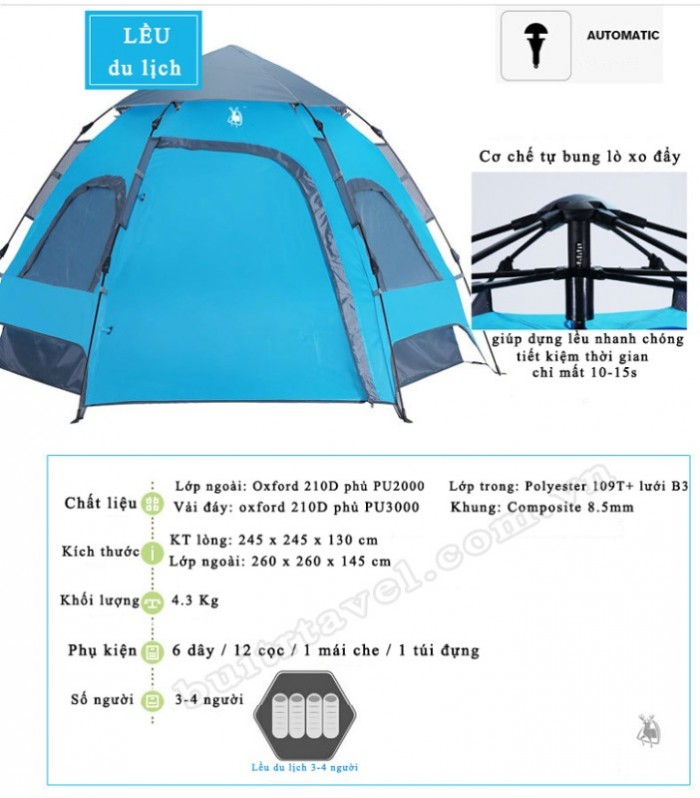 Lều du lịch tự bung 3-5 người GL12662