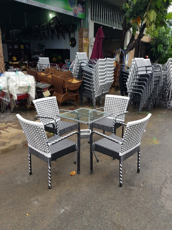 Bộ bàn ghế cafe nhựa giá rẻ
