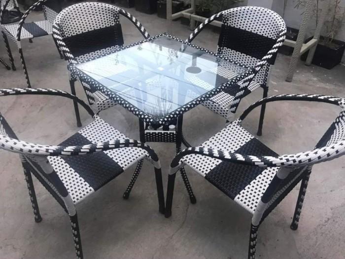 Bộ bàn ghế cafe nhựa giả mây HNT-083..1