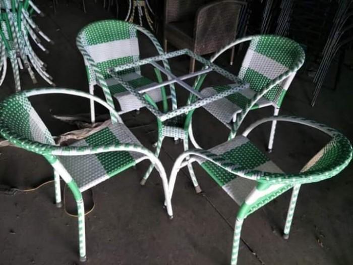 Bộ bàn ghế cafe nhựa giả mây HNT-083..2