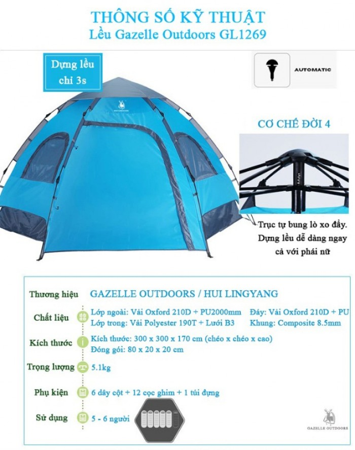 Lều du lịch tự bung gazelle outdoors gl12694
