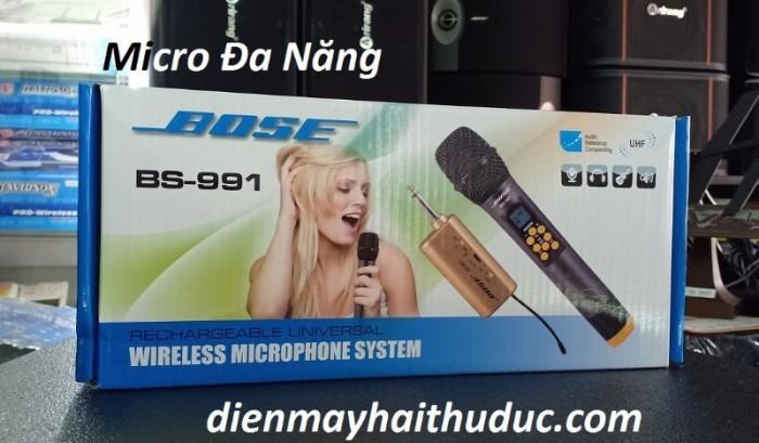 Micro Không Dây Bose BS-991 Đặc biệt chỉnh được tiếng Hú rít qua chức năng Mic treble trực tiếp trên tay Micro2