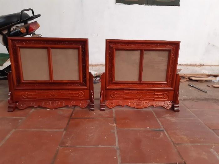 Khung ảnh thờ kép triện  đôi gỗ hương kích thước ảnh 20 x30 cm2