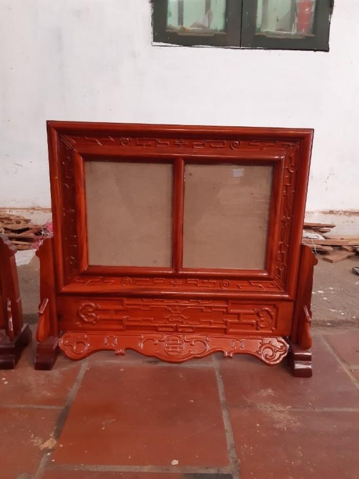 Khung ảnh thờ kép triện  đôi gỗ hương kích thước ảnh 20 x30 cm1