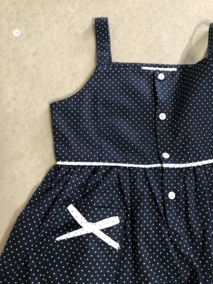 Đầm bé gái 2 dây xòe xanh đen chấm bi có túi D02-XANHDEN3