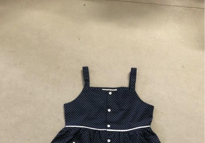 Đầm bé gái 2 dây xòe xanh đen chấm bi có túi D02-XANHDEN1