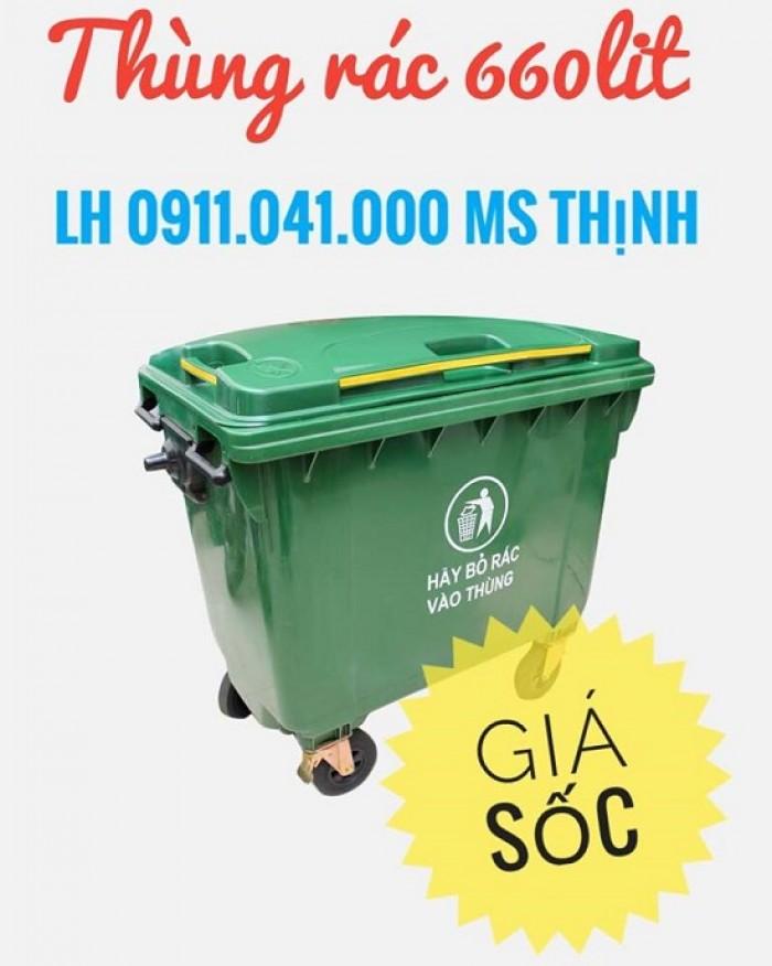 Xe thu gom rác thải 660lit giá rẻ0