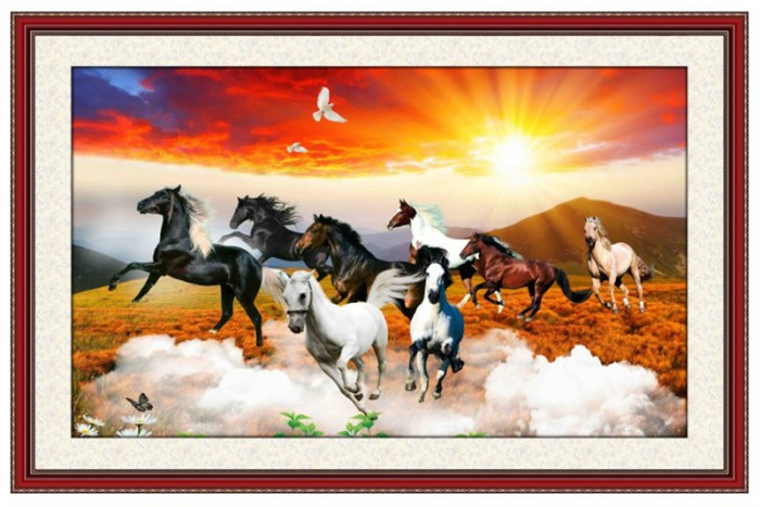 Tranh ngựa 3d trang trí phòng khách - 89Y