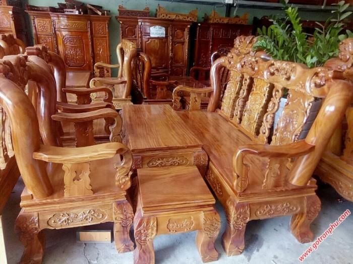 Bộ ghế sa lông gỗ gõ đỏ tay 12 chạm đào2