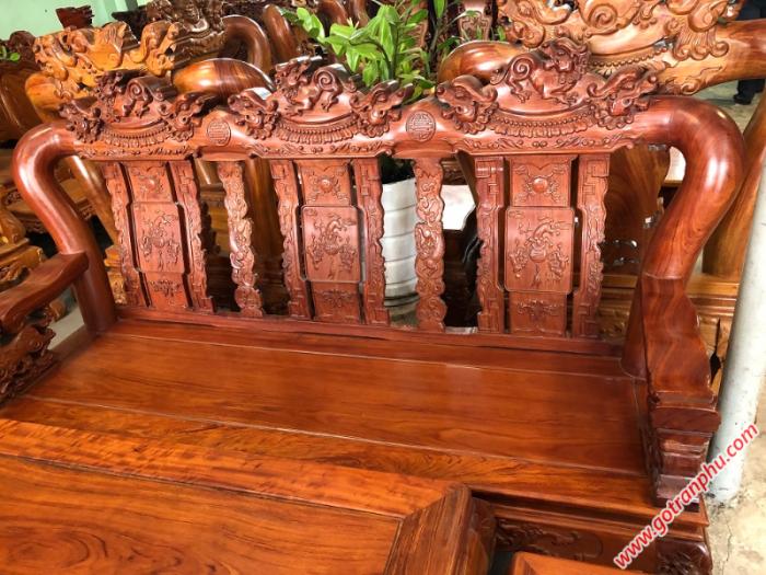 Salon gỗ cẩm lai tay 12 chạm nghê2
