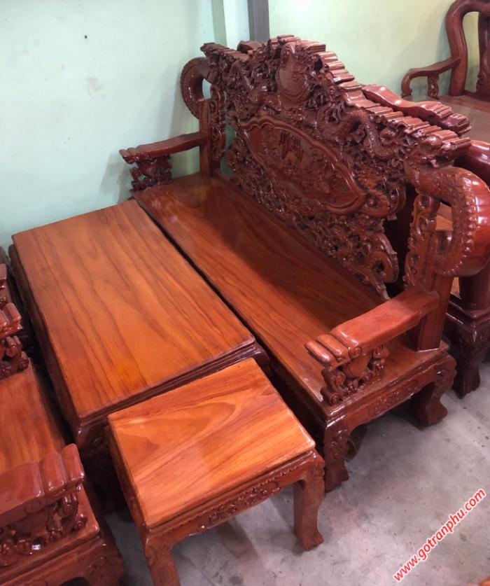 Salon gỗ gõ đỏ Lào chạm rồng tay khuỳnh1
