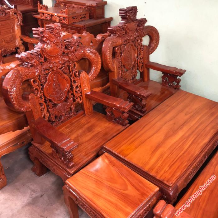 Salon gỗ gõ đỏ Lào chạm rồng tay khuỳnh2