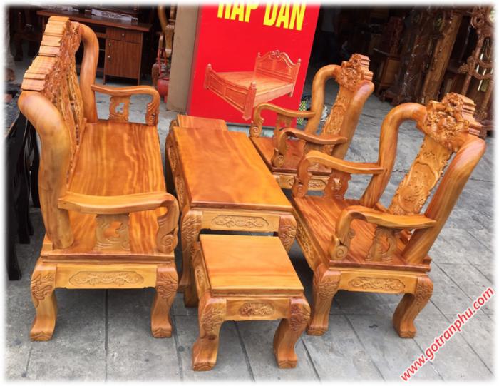 Bộ bàn ghế gỗ tay 10 gỗ gõ đỏ chạm rồng 6 món0