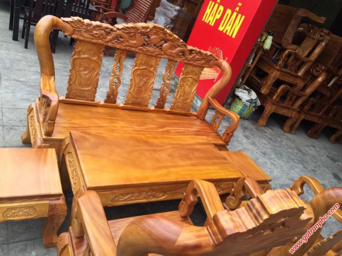 Bộ bàn ghế gỗ tay 10 gỗ gõ đỏ chạm rồng 6 món2