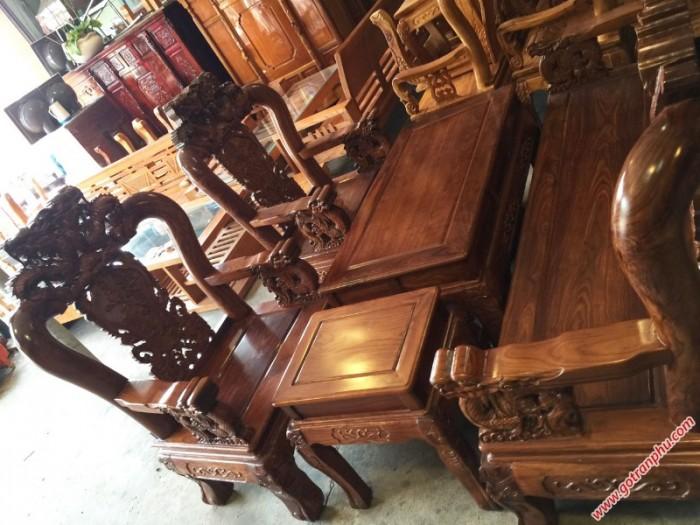 Salon gỗ phòng khách gỗ hương tay 10 chạm rồng bát tiên1