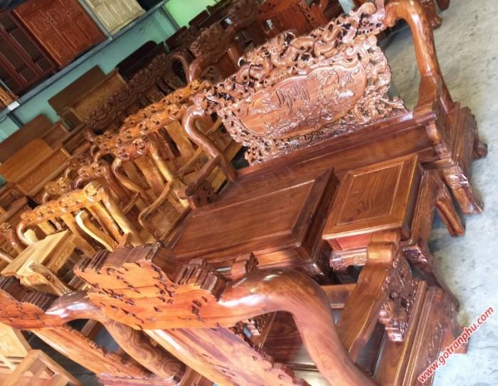 Salon gỗ phòng khách gỗ hương tay 10 chạm rồng bát tiên2