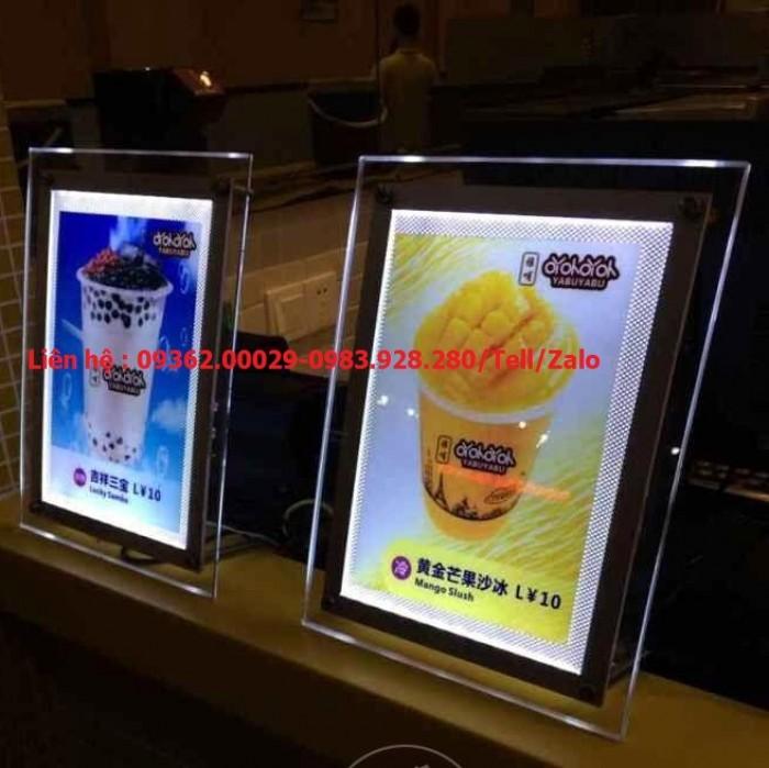 Biển menu có đèn led để bàn –Gia công hộp đèn siêu mỏng giá rẻ2