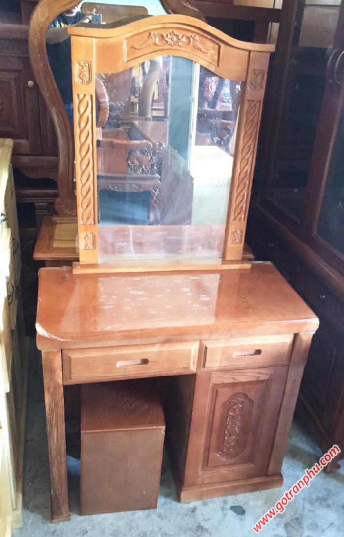 Bàn trang điểm đẹp gỗ sồi gương hình chữ nhật1