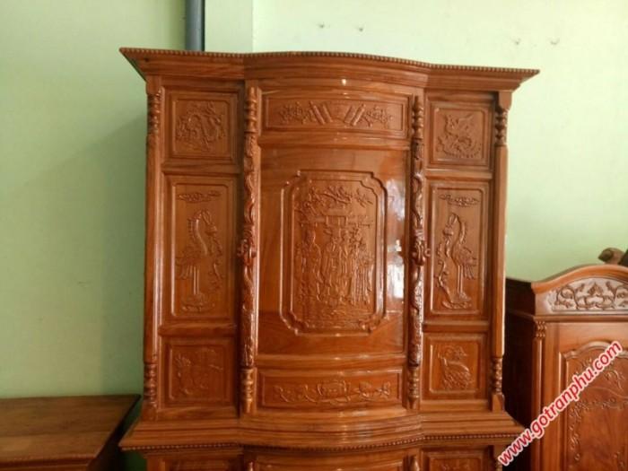 Tủ thờ đẹp gỗ căm gõ 6 chân chạm Phúc Lộc Thọ1