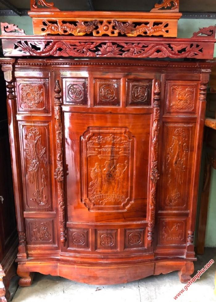 Tủ thờ đẹp gỗ xoan đào 4 chân2