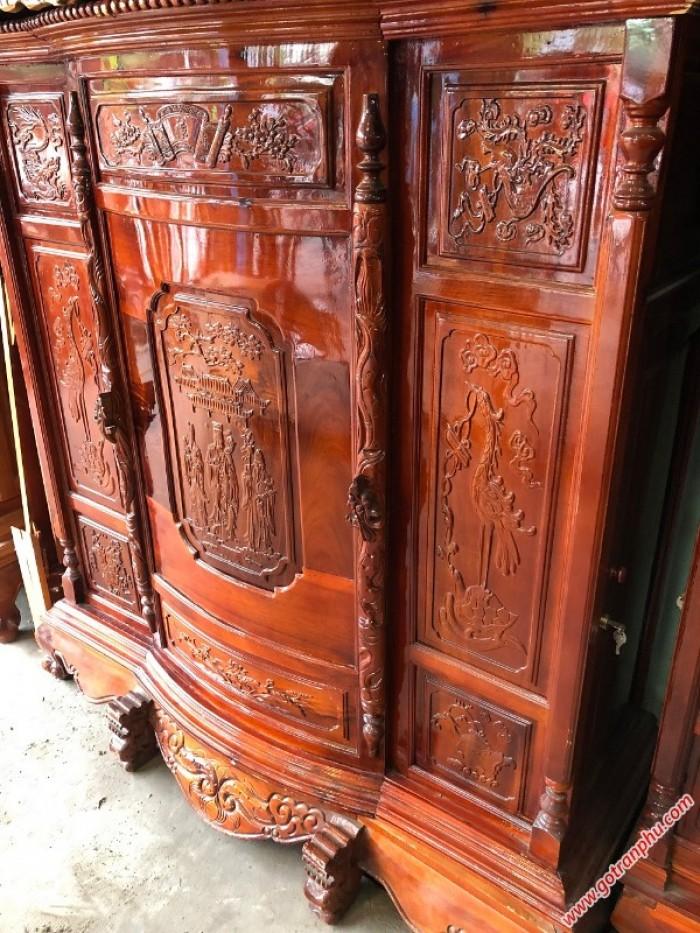 Tủ thờ gỗ đẹp xoan đào 6 chân gỗ tự nhiên cao cấp3