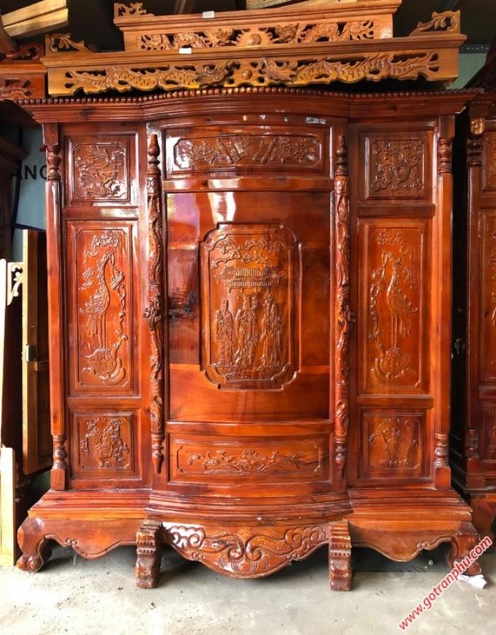 Tủ thờ gỗ đẹp xoan đào 6 chân gỗ tự nhiên cao cấp2