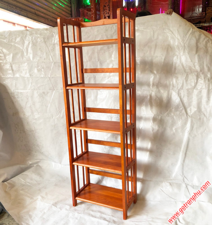 Kệ sách đứng gỗ cao su 5 tầng màu nâu ngang 50cm2