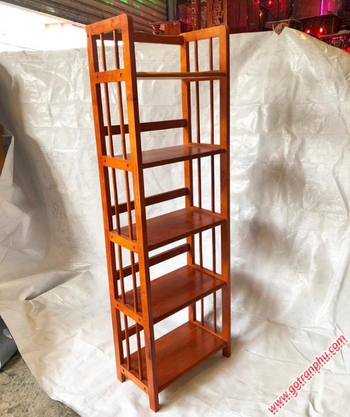 Kệ sách đứng gỗ cao su 5 tầng màu nâu ngang 50cm3