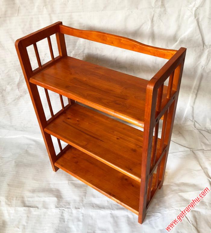 Kệ sách đứng gỗ cao su 3 tầng màu nâu ngang 65cm3