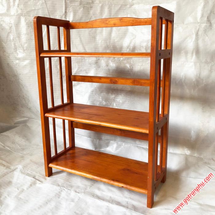 Kệ sách đứng gỗ cao su 3 tầng màu nâu ngang 65cm2