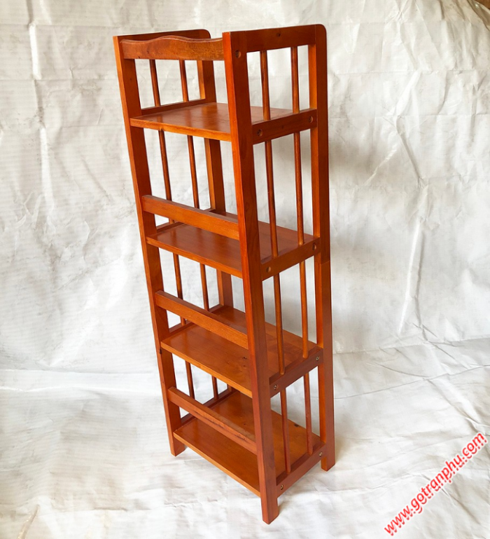 Kệ sách đứng gỗ cao su 4 tầng màu nâu ngang 40cm2