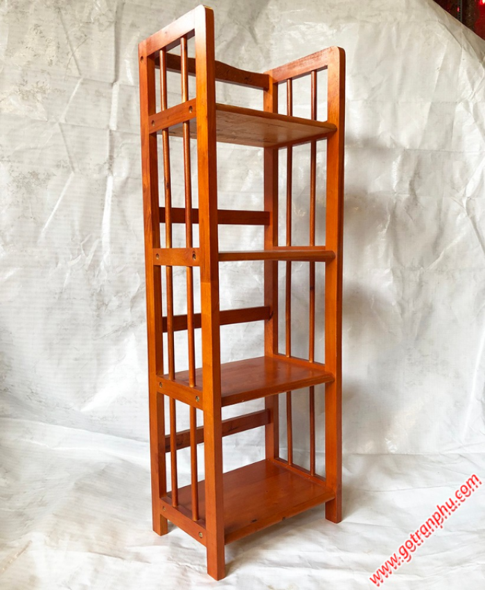 Kệ sách đứng gỗ cao su 4 tầng màu nâu ngang 40cm3