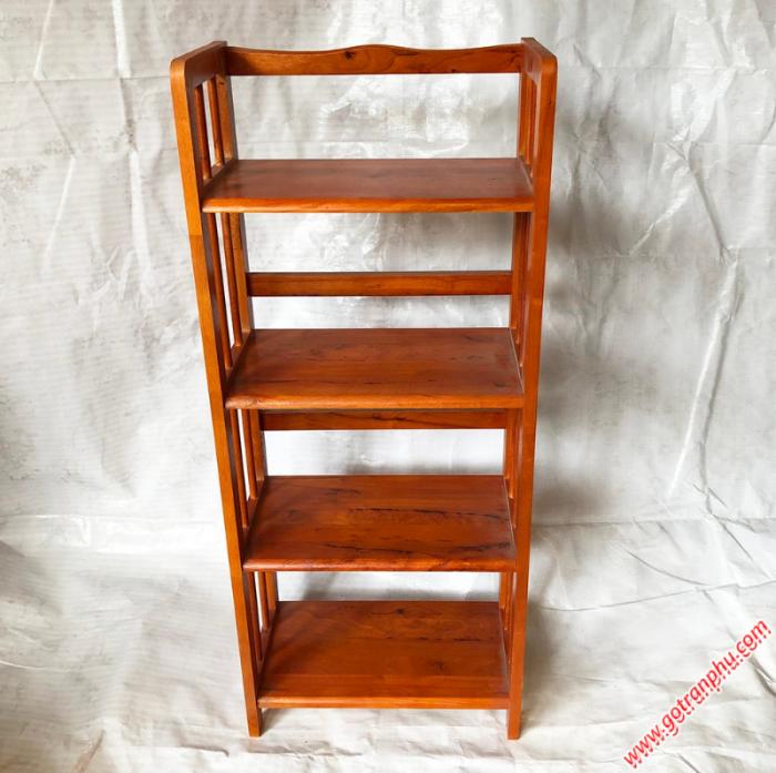 Kệ sách đứng gỗ cao su 4 tầng màu nâu ngang 50cm3