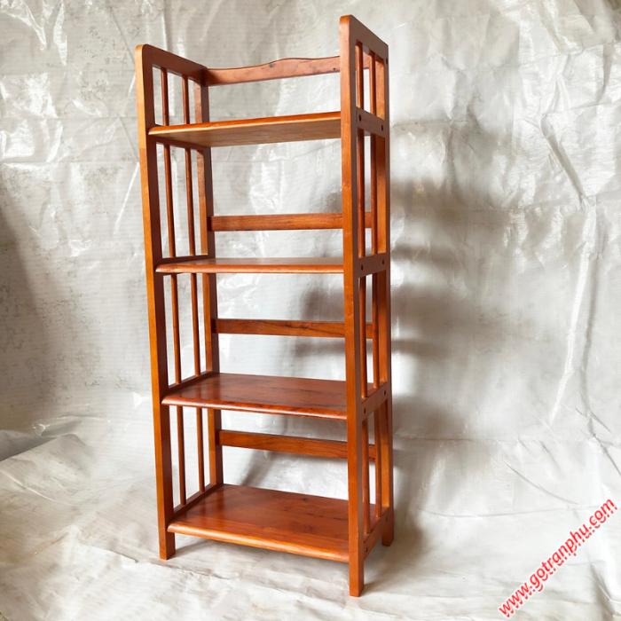 Kệ sách đứng gỗ cao su 4 tầng màu nâu ngang 50cm2