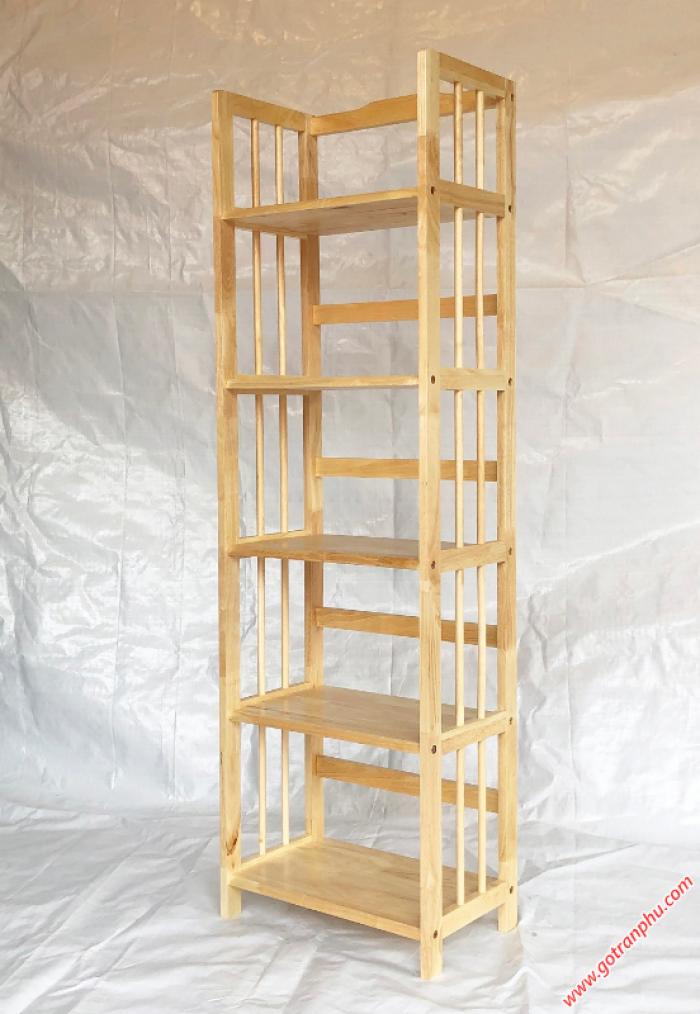 Kệ gỗ 5 tầng đựng sách màu gỗ tự nhiên ngang 50cm0