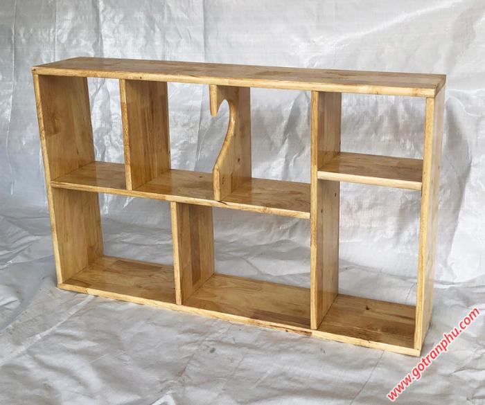 Kệ sách treo tường đẹp gỗ cao su màu gỗ tự nhiên 1m41