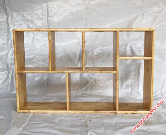 Kệ sách treo tường đẹp gỗ cao su màu gỗ tự nhiên 1m40