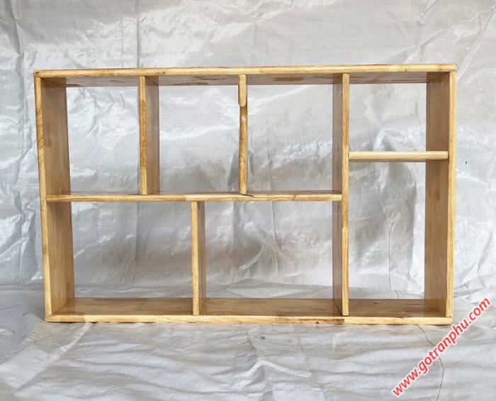Kệ sách trang trí gỗ cao su màu gỗ tự nhiên 80cm1