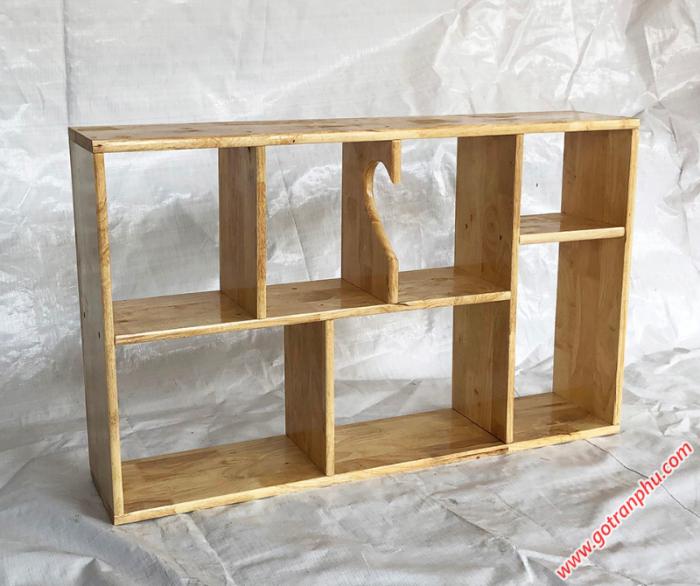 Kệ sách trang trí gỗ cao su màu gỗ tự nhiên 80cm2