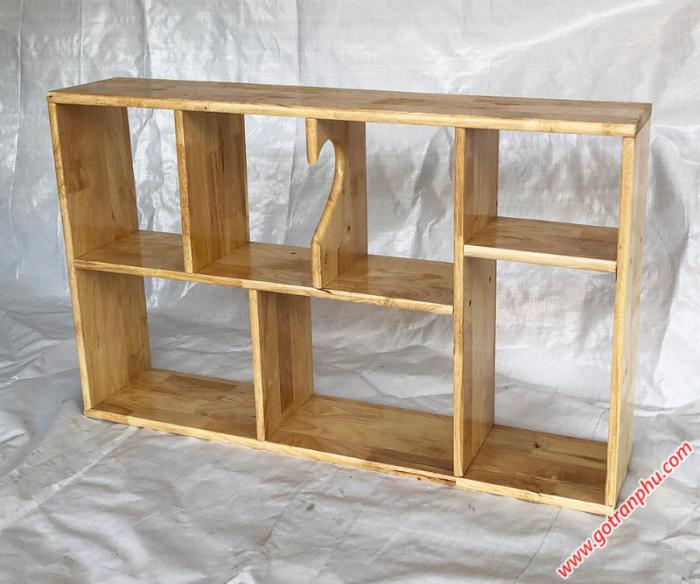 Kệ sách trang trí gỗ cao su màu gỗ tự nhiên 80cm3