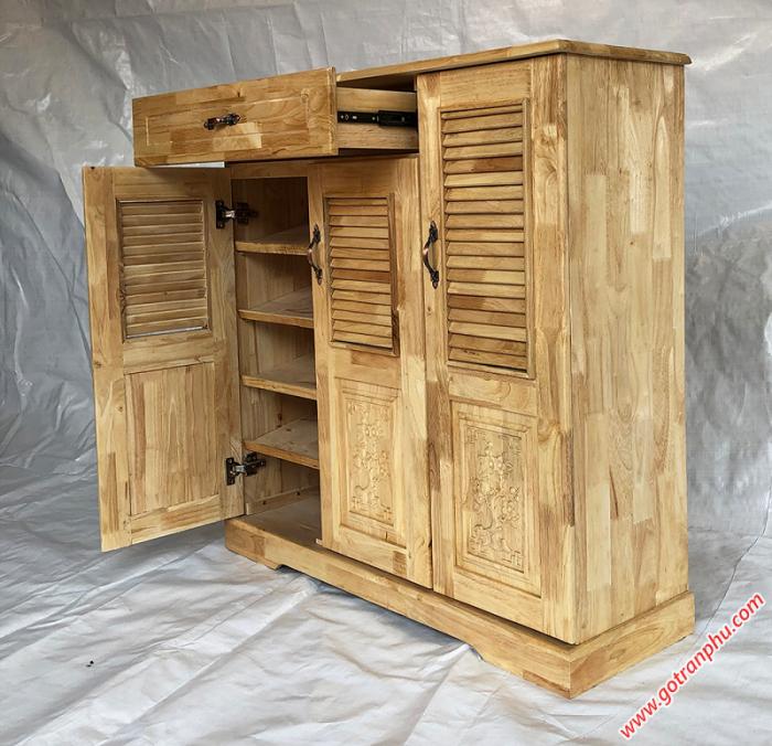 Tủ dép gỗ cao su 3 cánh 1 ngăn kéo2